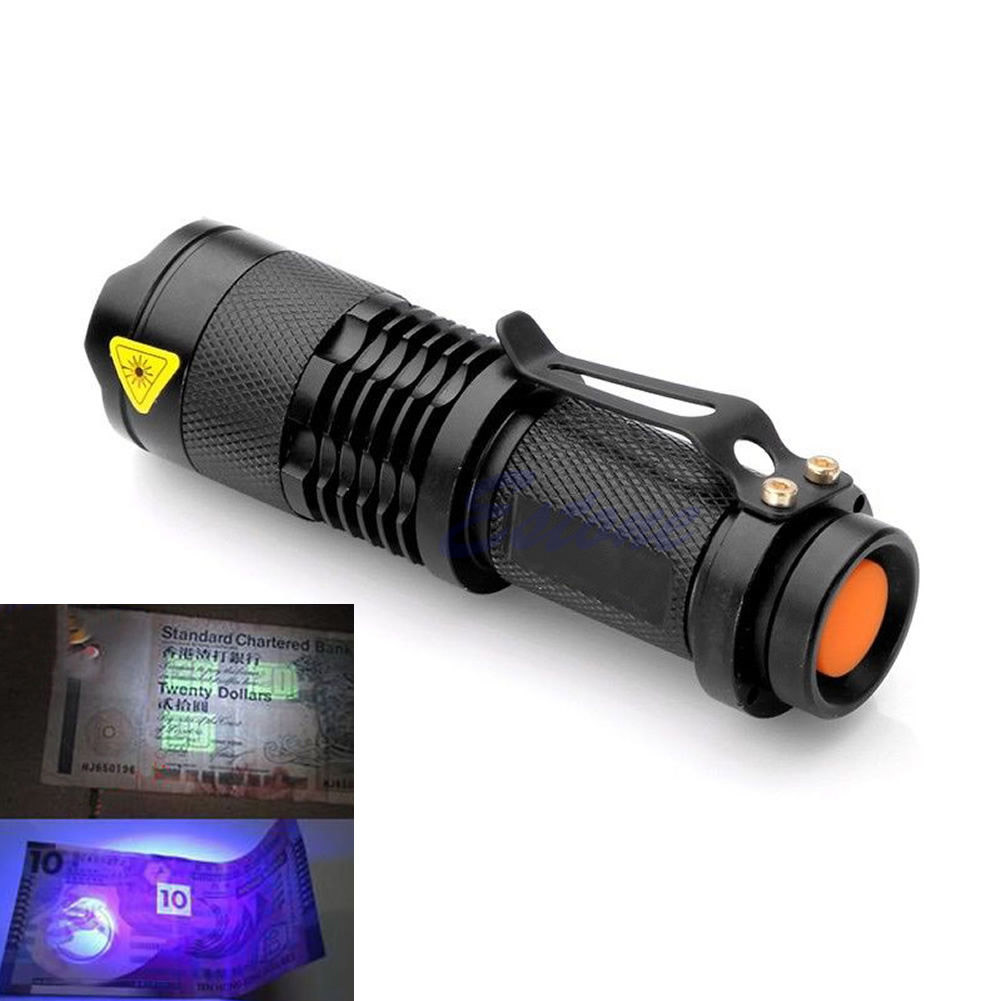 Zumlanabilir Led UV El Feneri Ultra Violet Işık Blacklight UV Lambası Torch AA Pil